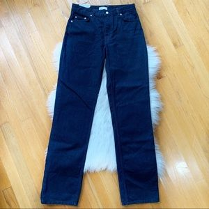 ZARA Straight Leg High Rise Dark Blue Jeans